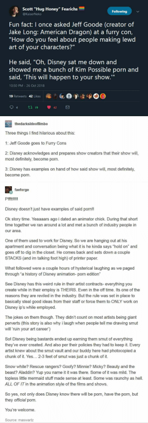 "41 Tumblr Posts That Are Made To Improve Your Mood – Sarcasm: Scott ""Hug Honey"" Fearichs  Following  @KaiserNeko  Fun fact: I once asked Jeff Goode (creator of  Jake Long: American Dragon) at a furry con,  ""How do you feel about people making lewd  art of your characters?""  He said, ""Oh, Disney sat me down and  showed me a bunch of Kim Possible porn and  said, 'This will happen to your show.""  10:50 PM 26 Oct 2018  19 Retweets 42 Likes  t19  42  thedarksideoflimbo  Three things I find hilarious about this:  1: Jeff Goode goes to Furry Cons  2: Disney acknowledges and prepares show creators that their show will,  most definitely, become porn.  3: Disney has examples on hand of how said show will, most definitely,  become porn  faeforge  Pffft!!!!!  Disney doesn't just have examples of said porn!!  Ok story time. Yeaaaars ago i dated an animator chick. During that short  time together we ran around a lot and met a bunch of industry people in  our area  One of them used to work for Disney. So we are hanging out at his  apartment and conversation being what it is he kinda says ""hold on"" and  goes off to dig in the closet. He comes back and sets down a couple  STACKS (and im talking foot high) of printer paper.  What followed were a couple hours of hysterical laughing as we paged  through ""a history of Disney animation- porn edition""  See Disney has this weird rule in their artist contracts- everything you  create while in their employ is THEIRS. Even in the off time. Its one of the  reasons they are reviled in the industry. But the rule was set in place to  basically steal good ideas from their staff or force them to ONLY work on  Disney ip's while employed..  The jokes  on them though. They didn't count on most artists being giant  perverts (this story is also why i laugh when people tell me drawing smut  will 'ruin your art career')  So! Disney being bastards ended up earning them smut of everything  they've ever created. And also per their policies they had to keep it. Every  artist knew about the smut vault and our buddy here had photocopied a  chunk of it. Yes... 2-3 feet of smut was  just a chunk of it  Snow white? Rescue rangers? Goofy? Minnie? Micky? Beauty and the  beast? Aladdin? Yup you name it it was there. Some of it was mild. The  topless little mermaid stuff made sense at least. Some was raunchy as hell.  ALL OF IT in the animation style of the films and shows.  So yes, not only does Disney know there will be porn, have the porn, but  they official porn  You're welcome  Source: maswartz 41 Tumblr Posts That Are Made To Improve Your Mood – Sarcasm"