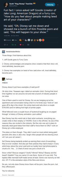 """Aladdin, Definitely, and Disney: Scott """"Hug Honey"""" Fearichs  Fun fact: I once asked Jeff Goode (creator of  Jake Long: American Dragon) at a furry con,  """"How do you feel about people making lewd  art of your characters?""""  He said, """"Oh, Disney sat me down and  showed me a bunch of Kim Possible porn and  said, 'This will happen to your show.  10-50 PM 26 Oct 2018  19 Retweets 42 Likes  (e  e'。叭魁  D ( )  Three things I find hilarious about this:  1: Jeff Goode goes to Furry Cons  2: Disney acknowledges and prepares show creators that their show will,  most definitely, become porn.  3: Disney has examples on hand of how said show will, most definitely  become porn.  faeforge  Pmtilll  Disney doesn't just have examples of said pornl!  Ok story time. Yeaaaars ago i dated an animator chick. During that short  time together we ran around a lot and met a bunch of industry people in  our area  One of them used to work for Disney, So we are hanging out at his  apartment and conversation being what it is he kinda says """"hold on and  goes off to dig in the closet. He comes back and sets down a couple  STACKS (and im talking foot high) of printer paper.  What followed were a couple hours of hysterical laughing as we paged  through a history of Disney animation- porn edition  See Disney has this weird rule in their artist contracts- everything you  create while in their employ is THEIRS. Even in the off time. Its one of the  reasons they are reviled in the industry But the rule was set in place to  basically steal good ideas from their staff or force them to ONLY work on  Disney ip's while employed.  The jokes on them though. They didn't count on most artists being giant  perverts (this story is also why i laugh when people tell me drawing smut  will 'ruin your art career)  Sol Disney being bastards ended up earning them smut of everything  they've ever created. And also per their policies they had to keep it. Every  artist knew about the smut vaulad our buddy here had photocopieda"""