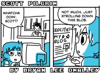 Target, Tumblr, and Blog: SCOTT PILGRIM  WHATCHA  DOIN',  SCOTT?  NOT MUCH, JUST  STROLLING DOWN  THIS BLOB.  EOCITIt  BLOG  B BRYAN LEE OMALLEY radiomaru:  a new scott pilgrim comic strip
