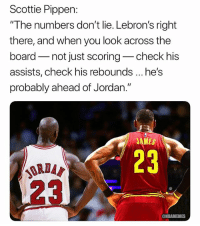 "Basketball, Nba, and Sports: Scottie Pippen:  ""The numbers don't lie. Lebron's right  there, and when you look across the  board not just scoring-check his  assists, check his rebounds he's  probably ahead of Jordan.""  AMES  23  ORDA  @NBAMEMES King James😳 nba nbamemes lebronjames"