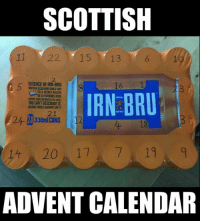Sorted ;): SCOTTISH  11 22 15 13  ESSENCE OF IRN-BRU  IRN BRU  OE32HANOURS WITH  MOU CANT DESCRIBE IT  21  14 20 17 7 19  ADVENT CALENDAR Sorted ;)