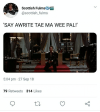 Twitter, Wee, and Scottish: Scottish Fulmsk  @scottish_fulms  SAY AWRITE TAE MA WEE PAL!  5:04 pm 27 Sep 18  79 Retweets 314 Likes Scots wha hae posted bangin patter oan the Twitter