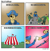 "Life, Omg, and Tumblr: SCOTTSMIND  HIS LIFE AS A PIRATE  ..  HAD BECOME PREDICTABLE  SO HE FOLLOWED HIS DREAMSAND BECAME A TRAPEZE ARTIST  BY SCOTT HOT <p><a href=""https://omg-images.tumblr.com/post/163092476807/pirate-life-oc"" class=""tumblr_blog"">omg-images</a>:</p>  <blockquote><p>Pirate Life [OC]</p></blockquote>"