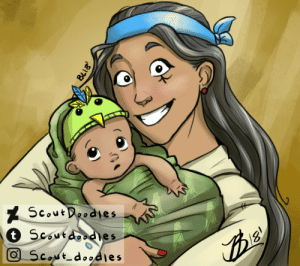 Tumblr, Blog, and Baby: Scoutoodies  2  Coutaoodl  e s  5  Cout scoutdoodles:  Anatober Day 18- Ok it's not exaaactly her corsair skin but… I just really wanted to draw baby Fareeha with a cheesy birb hat ok!