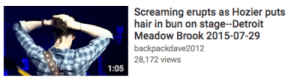 Detroit, Tumblr, and Blog: Screaming erupts as Hozier puts  hair in bun on stage--Detroit  Meadow Brook 2015-07-29  backpackdave2012  28,172 views  1:05 obsessedwithspn: it's good to know we still care about the little things