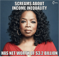 Memes, Scream, and 🤖: SCREAMS ABOUT  INCOME INEQUALITY  HAS NET WORTH OF S3.2 BILLION #BigGovSucks