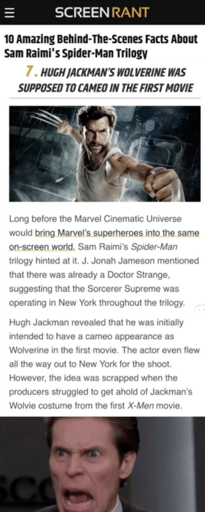 Doctor, Facts, and J. Jonah Jameson: SCREEN RANT  10 Amazing Behind-The-Scenes Facts About  Sam Raimi's Spider-Man Trilogy  7.HUGH JACKMAN'S WOLVERINE WAS  SUPPOSED TO CAMEO IN THE FIRST MOVIE  Long before the Marvel Cinematic Universe  would bring Marvel's superheroes into the same  on-screen world, Sam Raimi's Spider-Man  trilogy hinted at it. J. Jonah Jameson mentioned  that there was already a Doctor Strange,  suggesting that the Sorcerer Supreme was  operating in New York throughout the trilogy.  Hugh Jackman revealed that he was initially  intended to have a cameo appearance as  Wolverine in the first movie. The actor even flew  all the way out to New York for the shoot.  However, the idea was scrapped when the  producers struggled to get ahold of Jackman's  Wolvie costume from the first X-Men movie. We were this close to greatness.