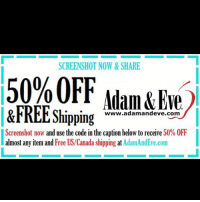 Get 50% OFF almost any adult item & FREE U.S.-CAN Shipping by using offer code ION @AdamandEve's Website. 18+ Only: SCREENSHOT NOW&SHARE  50% OFF Adam&Eve)  &FREE Shipping  www.adamandeve.com  Screenshot now and use the code in the caption below to receive 50% OFF  almost any item and Free US/Canada shipping at AdamAndEve.com Get 50% OFF almost any adult item & FREE U.S.-CAN Shipping by using offer code ION @AdamandEve's Website. 18+ Only