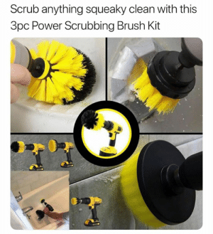Back up your daily cleaning with power tools! Get them here! ➡️ http://bit.ly/buy-drill-brush: Scrub anything squeaky clean with this  3pc Power Scrubbing Brush Kit Back up your daily cleaning with power tools! Get them here! ➡️ http://bit.ly/buy-drill-brush