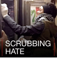 Graffiti, Memes, and Scrubs: SCRUBBING  HATE 7 FEB: A group of New York City commuters decided to turn hate into love by teaming up to clean racist graffiti on the subway. Photos: Gregory Locke, Getty More: bbc.in-scrubbing NewYork NYC subway transportation graffiti GregoryLocke TurnHateIntoLove BBCShorts BBCNews @BBCNews