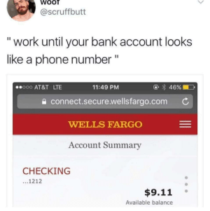 "I've nailed it!: @scruffbutt  ""work until your bank account looks  like a phone number ""  @ 46%  o00 AT&T LTE  11:49 PM  connect.secure.wellsfargo.com  WELLS FARGO  Account Summary  CHECKING  ...1212  $9.11  Available balance I've nailed it!"