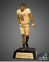 Baker Mayfield gets his own custom Heisman trophy.  Credit: Cycle: SDONERS  THE HEISMAN MEMORIAL TROPHY  BAKER MAYFIELD  UNIVERSITY OF OKLAHOMA Baker Mayfield gets his own custom Heisman trophy.  Credit: Cycle