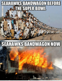 Football, Meme, and Memes: SEAHAWKS BANDWAGON BEFORE  THE SUPER BOWL  SEAHAWKS BANDWAGONNOMMI  @NFL MEMES UPDATED: Seahawks Bandwagon
