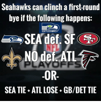 Seahawks can clinch a first-round  bye if the following happens:  SEATTLECHAWKS  SEA def. SF  NO def ATL  OR  SEATIE ATLLOSE GB/DET TIE Seahawks clinched a first-round bye: 1. SEA win + ATL lose or tie 2. SEA tie + ATL lose + GB-DET tie The Falcons don't plan to rest any players in the final game, they are also looking to lock up the 2nd seed in the NFC. GoHawks GoSaints