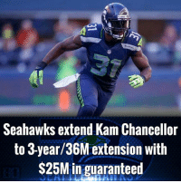 Memes, Seahawks, and 🤖: Seahawks extend Kam Chancellor  to 3-year/36M extension with  $25M in guaranteed Seahawks extend Kam Chancellor to 3-year-36M extension with $25M in guaranteed