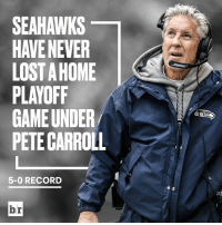Seahawks home-field advantage is unreal.: SEAHAWKS  HAVE NEVER  LOST A HOME  PLAYOFF  GAME UNDER  PETE CARROLL  5-0 RECORD  br Seahawks home-field advantage is unreal.