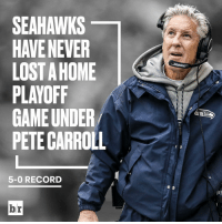 The Seahawks home-field advantage is unreal. Can the Lions break the streak?: SEAHAWKS  HAVE NEVER  LOSTAHOME  PLAYOFF  GAME UNDER  PETE CARROLL  5-0 RECORD  br The Seahawks home-field advantage is unreal. Can the Lions break the streak?