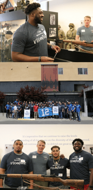 The @Seahawks spent the day performing various service projects to positively impact their community. #SeahawksHuddleFor100 https://t.co/HEZeHHrvAG: SEAHAWKS  VOLANTES  ww i  Smanu ae T.MaTEDA   DUCATING THE FUTURE  12  HUDDLE  SEAHAWK  FOR 100  OUCK   It's imperative that we continue to raise the levels  tanding of all Amans on the diversity of tho  and continue  erved,  of  U  , to defend our great  na  SEAHAWKS  OLANTEER  SEAHAW  VOLANTEER  SEAR WKSs  VOLNTEER  NA The @Seahawks spent the day performing various service projects to positively impact their community. #SeahawksHuddleFor100 https://t.co/HEZeHHrvAG