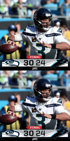 FINAL: The @Seahawks improve to 11-3! #Seahawks #SEAvsCAR https://t.co/LE1lugLOyy: SEAHAWS  RONAL FOOTBALL LEADUE  FINAL  30 24   SEANAWI  2rAL LEADUT  FINAL  30 24 FINAL: The @Seahawks improve to 11-3! #Seahawks #SEAvsCAR https://t.co/LE1lugLOyy