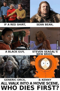Black Guy Meme: SEAN BEAN,  IF A RED SHIRT  A BLACK GUY  STEVEN SEAGAL'S  NEW BRIDE  & KENNY  GENERIC ORCS  ALL WALKINTO A MOVIE SCENE,  WHO DIES FIRST?