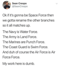 cool memes, bro.: Sean Crespo  @SeanCrespo  Ok if it's gonna be Space Force then  we gotta rename the other branches  so it all matches up.  The Navy is Water Force.  The Army is Land Force.  The Marines are Punch Force  The Coast Guard is Swim Force  And duh of course the Air Force is Air  Force Force.  My work here is dumb. cool memes, bro.
