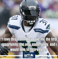 """Love, Memes, and Opportunity: SEANA  I love this team. They gave me the first  opportunity, the only opportunity. And  would love to retire here  SEATTLECHAWKS Kam Chancellor optimistic deal will get done by Seahawks opener """"I think it's been positive on both ends,"""" Chancellor said. """"Hopefully it'll get done any time now. Both sides have been very productive working together and just waiting to see what's happening."""" Side note: Have seen that deal was really close...possibly this week even."""