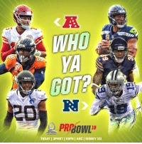 Abc, Disney, and Espn: SEANA  WHD  GOT?  PRPBOWL  PRO BOWL  ORLANDO 2019  TODAY 3PMET ESPN | ABC | DISNEY XD NFC vs AFC.  Who ya got?  📺: 2019 Pro Bowl | TODAY 3pm ET on ESPN + ABC + Disney XD https://t.co/xGkbCidxNy