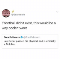 Dank, Football, and Jay: @Seanxsolo  If football didn't exist, this would be a  way cooler tweet  Tom Pelissero @TomPelissero  Jay Cutler passed his physical and is officially  a Dolphin.