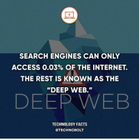 "Apple, Dell, and Facts: SEARCH ENGINES CAN ONLY  ACCESS 0.03% OF THE INTERNET  THE REST IS KNOWN AS THE  ""DEEP WEB.""  DEEP WEB  TECHNOLOGY FACTS  @TECHNO BOLT Mind blown! - Source: (theguardian) bit.ly-darkbolt - fact technobolt technology tech apple iphone ipod ipad samsung s7 hp dell acer lenovo asus cool innovation inspirational microsoft windows mac osx awesome wow damn nice amazing oneplus smartphone phone"