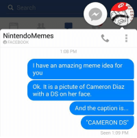 "Facebook, Meme, and Memes: Search  FF  Nintendo Memes  FACEBOOK  1:08 PM  I have an amazing meme idea for  you  Ok. It is a pictute of Cameron Diaz  with a DS on her face.  And the caption is.  CAMERON DS""  Seen 1:09 PM ok"