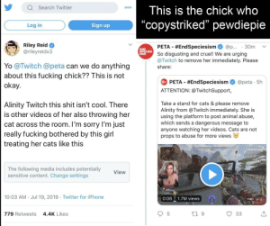 "Cats, Fucking, and Iphone: Search Twitter  This is the chick who  O00  ""copystriked"" pewdiepie  Sign up  Log in  Riley Reid  @rileyreidx3  PETA #EndSpeciesism  30m  @p..  END  SPECIES  ISM!  urging  So disgusting and cruel! We are  @Twitch to remove her immediately. Please  Yo @Twitch @peta can we do anything  about this fucking chick?? This is not  okay.  share:  PETA #EndSpeciesism  @peta . 5h  SPECIES  ATTENTION: @TwitchSupport,  Take a stand for cats & please  Alinity Twitch this shit isn't cool. There  is other videos of her also throwing her  cat across the room. I'm sorry I'm just  really fucking bothered by this girl  treating her cats like this  remove  Alinity from @Twitch immediately. She is  using the platform to post animal abuse,  which sends a dangerous message to  anyone watching her videos. Cats are not  props to abuse for more views  The following media includes potentially  sensitive content. Change settings  View  10:03 AM Jul 19, 2019 Twitter for iPhone  1.7M views  0:06  18  9  5  33  779 Retweets  4.4K Likes F"