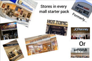 Sears, Starter Packs, and Yankee Candle: Sears Outlet  AuntieAnnes  Stores in every  Formerly..  mall starter pack  HOT TOPIC  НОTTОРIC  JCPenney  40%  Or  Bath & Body Works  macy's  YANKEE CANDLE Stores in every mall starter pack