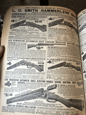 Blade, Bored, and Boxing: SEARS. ROEBUCK & CO., CHICAGO. ILL.  716  CATALOGUE No. I7  HAMMERLESS  MADE BY THE HUNTER ARMS CO., FULTON, N. Y..  REASON OF DEFECTIVE MATERIAL OR WORKMANSHIP WITHIN ONE YEAR, WE WILL REPLACE IT FREE OF CHAL  L. C. SMITH  PRICES THE MANUFACTURBR FIXES THE SELLING PRICE OF THESE GUNS AND WILL NOT ALLOW US OR ANY OTHER HOUSE TO SELL THEM ER  EVERY GUN WHICH WE SELL IS COVERED BY OUR BINDING GUARANTEE, WHICH MEANS THAT JP ANY PIECE O PA  ny gun of ma, and if you do not find it satisfactory, or as represented, you may retiurn it to us at our expense of transportation charges both ways and we will Immediatel e  YOUR  GUN  OUR BINDING GUARANTEE.  ANUFAOTURE  illustra  GENERAL DESCRIPTION.  Alow US or any other he  proper load  All L. C. Smith Hammerless Ouns are full choke bored,  have English walnut pistol grip stock, tapered matted rib,  sase hardened locks and frame, rubber butt plate, compensating extension rib and fore end and  OUR PATENT OLOBE SIGHT is furnished free with all Smith guns.  DAMASCUS BARRELS.  ILLTETRATION hows t  the dou ble thick breech of I  GLOBE SIGHT  free with  this  atent anfoty alide.  THACA NE  ARMOR STEEL BARRELS.  BORED TOR NITRO PORDER  Globe Sighs  free with  this  BORED FOR NITRO POWDER  The manufacturer fixes  thing for boxing  Sight freo  with these  uns.  $25.00  atent Glo  Trhaca Gun Co. bave this  No. 6K140  The No. 0, No. 1 and No. 2 grades are all fitted with  Damascus barrels of three qualities. All of them are very  good, but the figure varies in size; for example, the igure of the thresW  has line engraving and the No. 2 has fine scroll and game engravine o t  No. 6K126  This is the L, C. Smith No. 00 grade, the one that is  itted with armor steel barrels, full choke bored,  engraving, and fally warranted.  NO  much finer than in the plain Damascus.  The No. 0 is plain fininbed,  All are choke bored for black or nitro powder and fully warz  no  Be sure to state length of barrels wanted.  by the facto