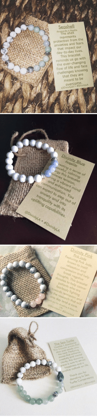 Christmas, Life, and Thank You: Seashell  Howlite  The shell  represents  protection from the  anxieties and fears  that impact our  day-to-day lives.  This bracelet  reminds us go with  the ever-changing  flow of life knowing  challenges that they are  meant to be  overcome.  @DivinityLA  Divinity Blue  reating a this sense of  relieves 6  tension,  r and a expect enhanced  can mind  to You  tranquility step of  into  and out with obil  its  Divinity LA DivinityLA   Divinity Pink  Featuring Pink Jade  known to instill  relaxation and  compassion and hel  break negative  thoughts. This bracelet  donates to help cancer  patients who are  fearlessly fighting  towards remission and  to the research that will  one day lend a cure  onk you for donating to Relay for  Life  @DivinityLA #DivinityLA   The-Sea-Turtle  owlite .Aseanturi  This bracelet proves that  slew and steady wins  the race. Featuring  stones that enhance  creativity and mental  clarity, this stunning  piece is sure to attract  happiness and a  positive outlook on life.  Thank you for  donating to Sea  Turtle Conservancy  @DivinityLA DivinityLA Christmas wish list 😍