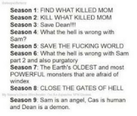 purgatory: Season 1: FIND WHAT KILLED MOM  Season 2: KILL WHAT KILLED MOM  Season 3: Save Dean!!!  Season 4 What the hell is wrong with  Sam?  Season 5: SAVE THE FUCKING WORLD  Season 6: What the hell is wrong with Sam  part 2 and also purgatory  Season 7: The Earth's OLDEST and most  POWERFUL monsters that are afraid of  windex  Season 8: CLOSE THE GATES OF HELL  Season 9: Sam is an angel, Cas is human  and Dean is a demon