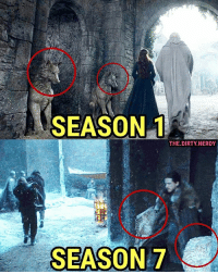 Memes, Dirty, and The Dirty: SEASON 1  THE.DIRTY NERDY  SEASON 7 It's so sad to think about everything the Boltons did to the Starks & Winterfell. 🐺🏰🐺 This is why we can't have nice things.
