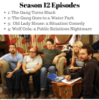 Season 12 gifs here: http://laterbar.com/scenes/5-always-sunny-season-12-gifs-were-excited-about: Season 12 Episodes  1: The Gang Turns Black  2: The Gang Goes to a Water Park  3: Old Lady House: a Situation Comedy  4: Wolf Cola: a Public Relations Nightmare Season 12 gifs here: http://laterbar.com/scenes/5-always-sunny-season-12-gifs-were-excited-about