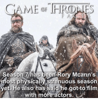 Fire, Funny, and Hbo: Season 7 has been Rory Mcann's  most physically strenuous season  yetHe also' has said.he.got-tofilm  with more actors I made this before the trailer dropped but now it's more clear. These two are going to have much better roles this season. The Hound was once his prisoner and he has a completely different attitude to fire so I'm sure there be some funny one liners between them. As for physically strenuous I think battling wights covers that. ❄️ • • Do you think Cleganebowl still has a chance? - - gameofthrones got gameofthronesseason7 gameofthronesfamily hbo sandorclegane thehound rorymccann bericdondarrion jonsnow whitewalkers winterishere