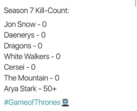 Memes, Jon Snow, and Snow: Season 7 Kill-Count:  Jon Snow -O  Daenerys - O  Dragons - O  White Walkers O  Cersei O  The Mountain O  Arya Stark 50+
