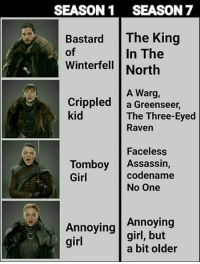 Memes, Girl, and Raven: SEASON1 SEASON 7  Bastard The King  In The  of  Winterfell North  A Warg,  Crippled a Greenseer,  kid  The Three-Eyed  Raven  Faceless  codename  Tomboy Assassin,  Girl  No One  Annoying  Annoying |girl, but  girl  a bit older
