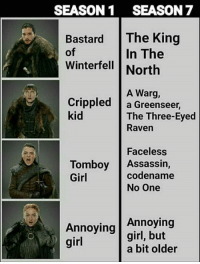Memes, Girl, and Raven: SEASON1 SEASON 7  Bastard The King  of  In The  Winterfell | North  A Warg,  Crippled a Greenseer,  kid  The Three-Eyed  Raven  Faceless  codename  Tomboy Assassin,  Girl  No One  Annoying Annoying  girl  girl, but  a bit older