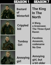 Lol, Memes, and Girl: SEASON1 SEASON 7  Bastard The King  of  Winterfell North  In The  A Warg,  Crippled |a Greenseer,  kid  The Three-Eyed  Raven  Faceless  codename  Tomboy Assassin,  Girl  No One  Annoying  Annoying girl, but  girl  a bit older Lol!😂😂 Do you guys like Sansa?!🤔