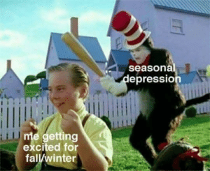 Me Getting: seasonal  depression  me getting  excited for  fall/winter