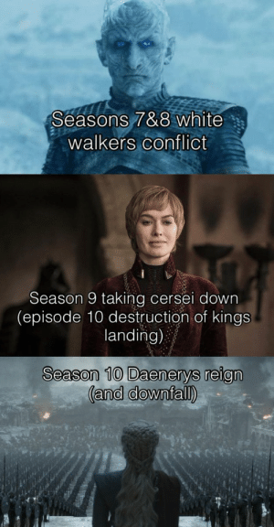 Memes, White, and Been: Seasons 7&8 white  walkers conflict  Season 9 taking cersei down  (episode 10 destruction of kings  landing)  Season 10 Daenerys reign Should GoT have been 10 seasons? https://t.co/UYfFkk6FZB