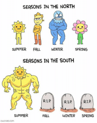 Owlturd Comix: SEASONS IN THE NORTH  SUMMER  FALL  WINTER  SPRING  SEASONS IN THE SOUTH  R.L.P  SUMMER  FALL  WINTER SPRING  OUULTURD.com Owlturd Comix