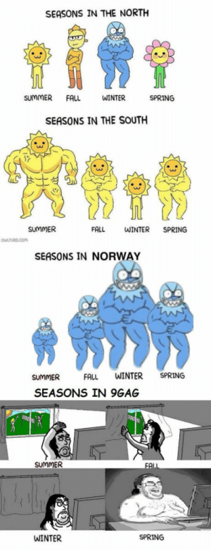 9gag, Fall, and Winter: SEASONS IN THE NORTH  SUMMERFALL  WINTER  SPRING  SEASONS IN THE SOUTH  SUMMER  FALL  WINTER SPRING  SEASONS IN NORWAY  SUMMER  FALL WINTER SPRING  SEASONS IN 9GAG  SUMMER  WINTER  SPRING Season of 9gagger
