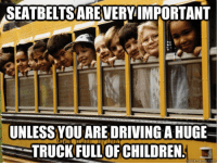 Driving, Memes, and Drive: SEATBELTSAREVERY IMPORTANT  UNLESS YOU ARE DRIVING AHUGE  TRUCK FULL OF CHILDREN  quick meme com #GovernmentLogic 😂😂  Join Us: V is For Voluntary