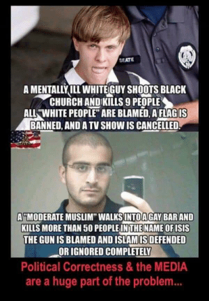 """Oh no! They cancelled a TV show 😔: SEATE  A MENTALLYILL WHITEGUY SHOOTS BLACK  CHURCH ANDKILLS 9 PEOPLE  ALL WHITE PEOPLE"""" ARE BLAMED, AFLAGIS  BANNED, AND A TV SHOW IS CANCELLED  A""""MODERATE MUSLIM"""" WALKSINTOAGAY BARAND  KILLS MORE THAN 50 PEOPLE IN THE NAME OF ISIS  THE GUN IS BLAMED AND ISLAM IS DEFENDED  OR IGNORED COMPLETELY  Political Correctness &the MEDIA  are a huge part of the problem... Oh no! They cancelled a TV show 😔"""