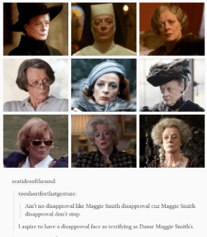 Dame Maggie Smith making you rethink all your choices: seatidesofthesoul:  tooshortforthatgesture:  Ain't no disapproval like Maggie Smith disapproval cuz Maggie Smith  disapproval don't stop  l aspire to have a disapproval face as terrifying as Dame Maggie Smith's Dame Maggie Smith making you rethink all your choices