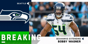 BREAKING: @Seahawks agree to terms with LB Bobby Wagner on a three-year, $54 million extension.  @Bwagz is now the highest-paid inside linebacker in the NFL. (via @RapSheet) https://t.co/1XUFdDFFvS: SEATTLE  ARNKS  SEAHAWKs  PGA  54  BREAKING  SEAHAWKS EXTENDING  BOBBY WAGNER BREAKING: @Seahawks agree to terms with LB Bobby Wagner on a three-year, $54 million extension.  @Bwagz is now the highest-paid inside linebacker in the NFL. (via @RapSheet) https://t.co/1XUFdDFFvS